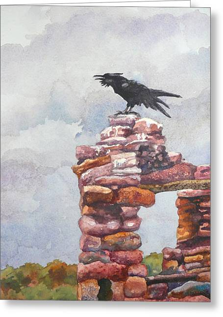 Indian Ruins Greeting Cards - Raven at Hovenweep Greeting Card by Anne Gifford