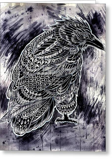 Drawings Greeting Cards - Raven Greeting Card by BioWorkZ