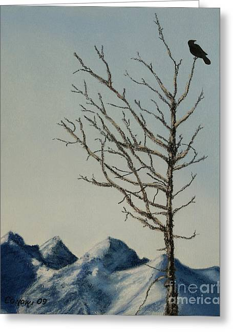 Silhouettes Pastels Greeting Cards - Raven Brought Light Greeting Card by Stanza Widen