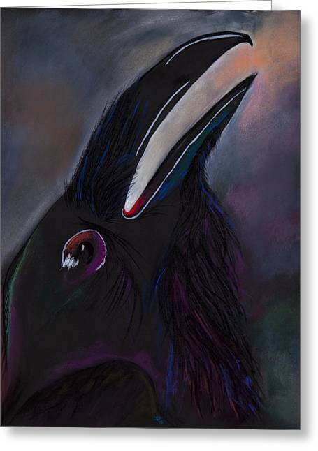 Raven Pastels Greeting Cards - Raven Call Greeting Card by Jocelyn Paine