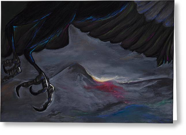 Raven Pastels Greeting Cards - Raven Claw Greeting Card by Jocelyn Paine