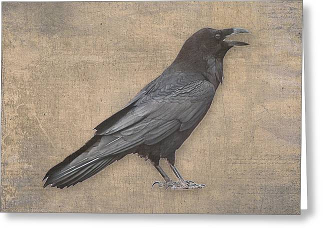 Julie Magers Soulen Greeting Cards - Raven Digital Art in Old World Antique Style Greeting Card by Julie Magers Soulen