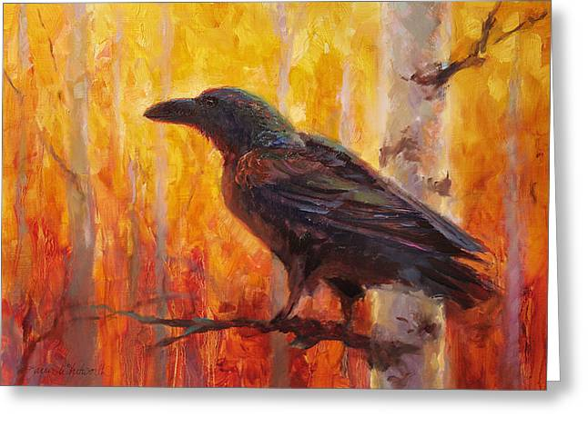 Loose Greeting Cards - Raven Glow Autumn Forest of Golden Leaves Greeting Card by Karen Whitworth
