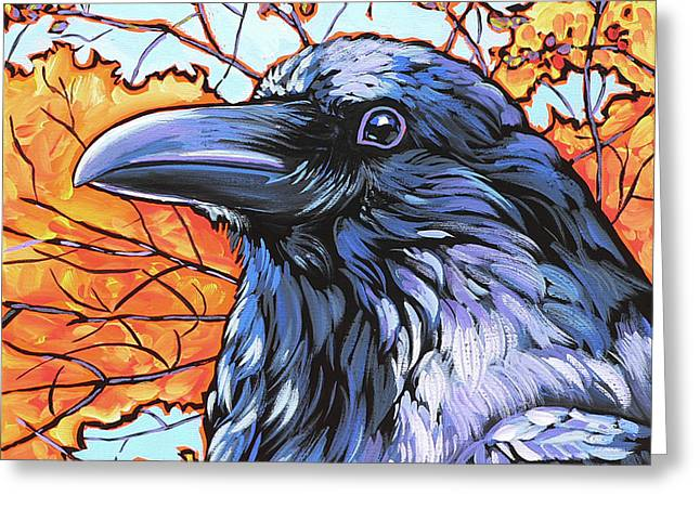 Nadi Spencer Paintings Greeting Cards - Raven Head Greeting Card by Nadi Spencer