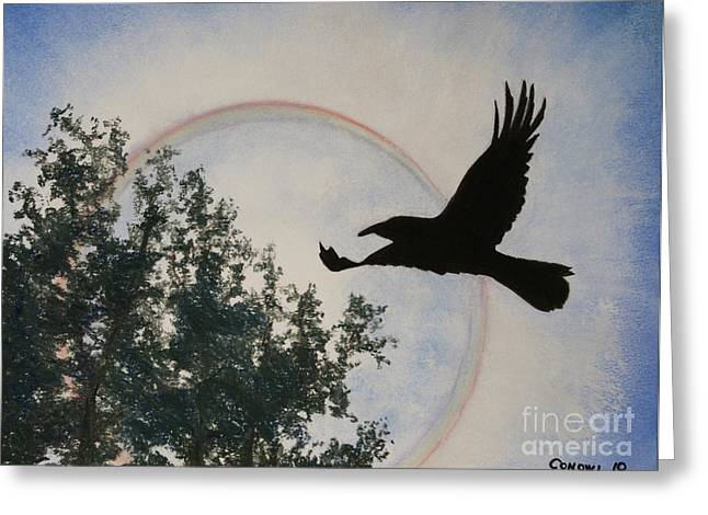 Flying Bird Pastels Greeting Cards - Raven Holds the Sun Greeting Card by Stanza Widen