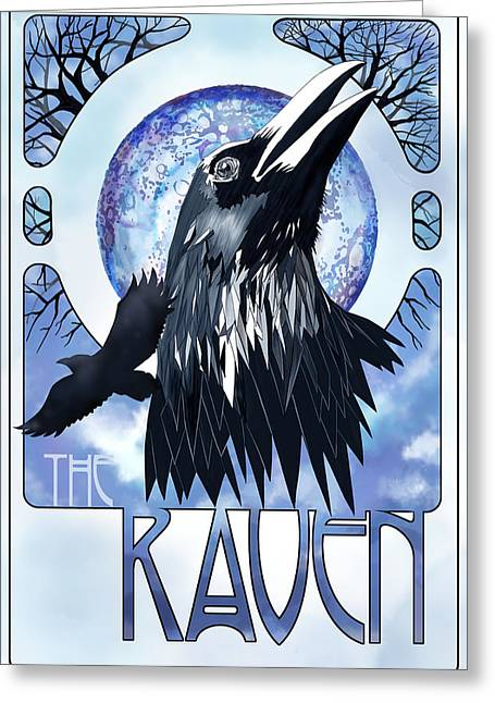 Canvas Crows Greeting Cards - Raven Illustration Greeting Card by Sassan Filsoof
