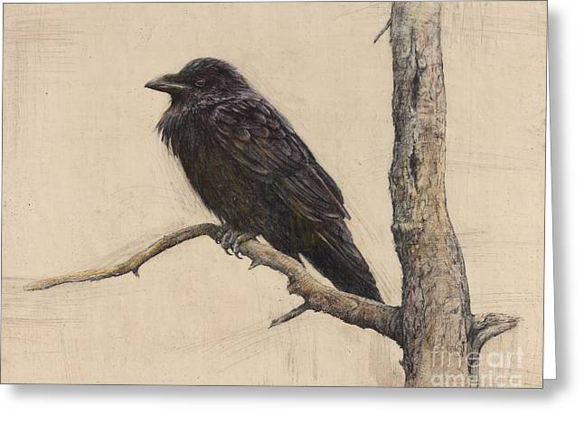 Mixed Media Print Mixed Media Greeting Cards - Raven Greeting Card by Lori  McNee
