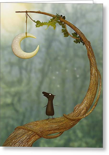 Love The Animal Greeting Cards - Raven Loves The Moon Greeting Card by Liam Liberty