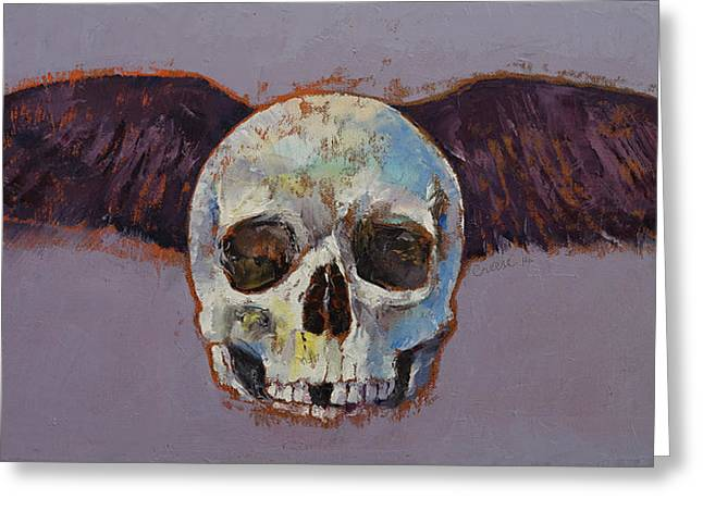 Surrealistic Paintings Greeting Cards - Raven Skull Greeting Card by Michael Creese