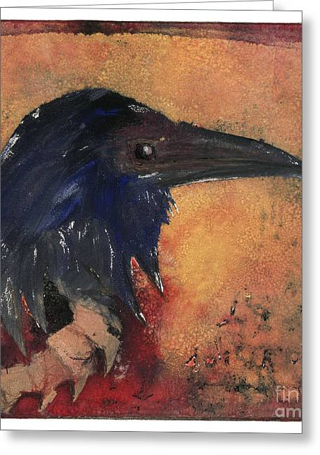 Raven - Middle Ages - Bird Of Ill Omen - Gallows Bird - Scavenger Bird - Fine Art Print -stock Image  Greeting Card by Urft Valley Art