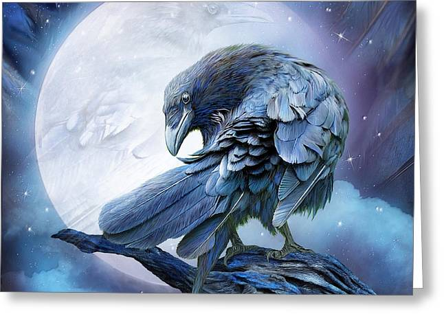 Raven Greeting Cards - Raven Moon Greeting Card by Carol Cavalaris