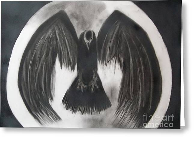Full Body Drawings Greeting Cards - Raven Moon Greeting Card by Tiffany Buttcher