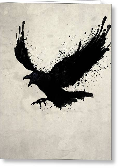 Ravens Greeting Cards - Raven Greeting Card by Nicklas Gustafsson