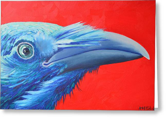 Flying Animal Greeting Cards - Raven Portrait Greeting Card by Ana Maria Edulescu