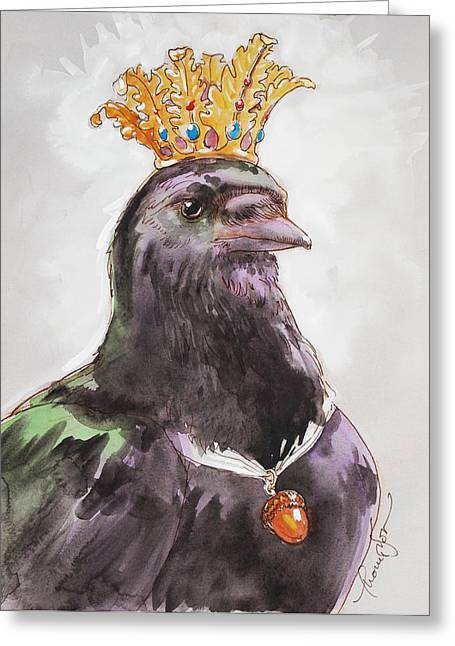 Fabled Mixed Media Greeting Cards - Raven Queen Greeting Card by Tracie Thompson