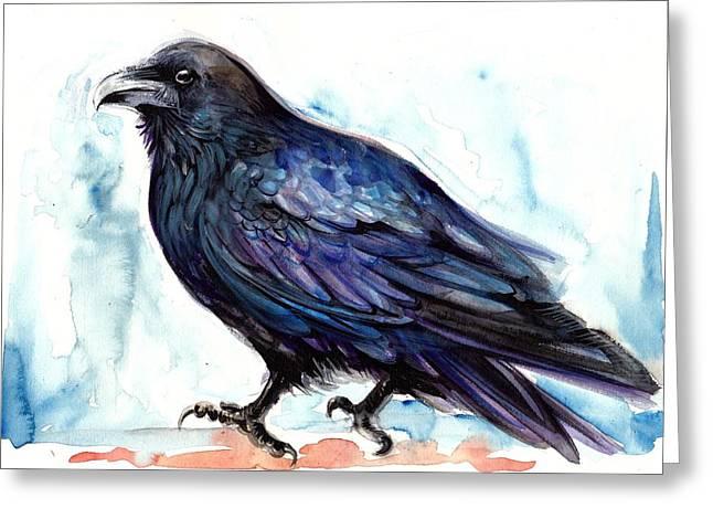 Blau Greeting Cards - Raven Resting - Bird Art Watercolor Greeting Card by Tiberiu Soos
