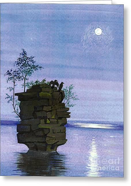 Roll Tide Paintings Greeting Cards - Raven Rock Greeting Card by Margaryta Yermolayeva
