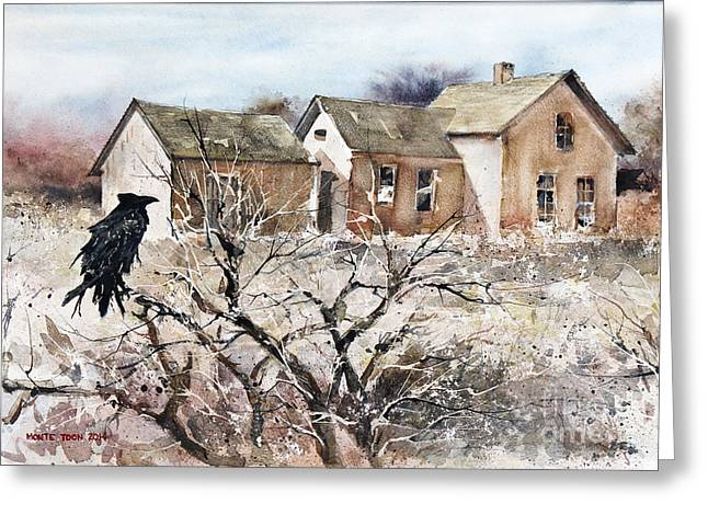 Pause Greeting Cards - Raven Roost Greeting Card by Monte Toon