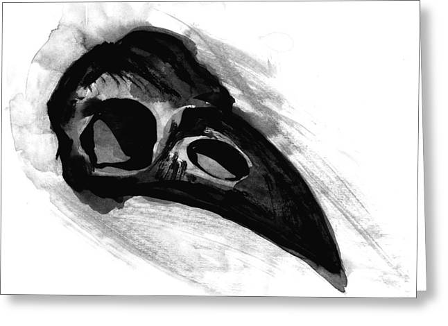 Negroes Paintings Greeting Cards - Raven Skull - Crow Skull in Watercolor Painting Greeting Card by Tiberiu Soos