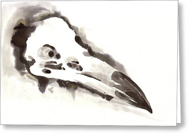 Negroes Paintings Greeting Cards - Raven Skull - Crow Skull Watercolor Painting Greeting Card by Tiberiu Soos