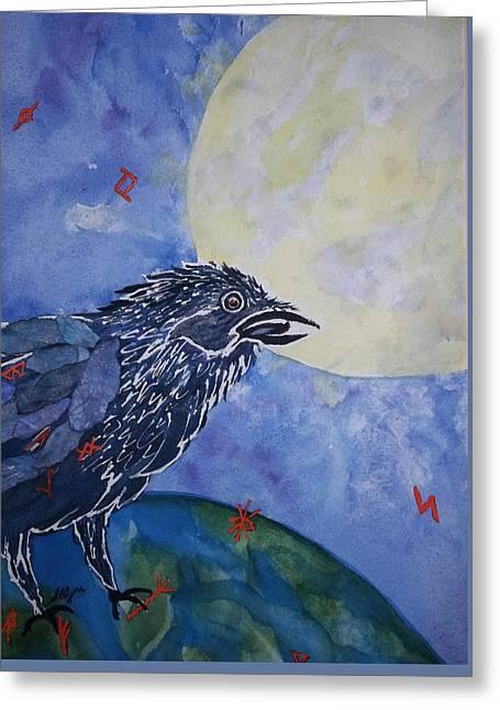 Raven Speak Greeting Card by Ellen Levinson