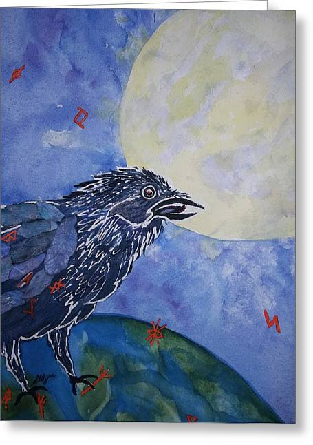 Out Of This World Greeting Cards - Raven Speak Greeting Card by Ellen Levinson