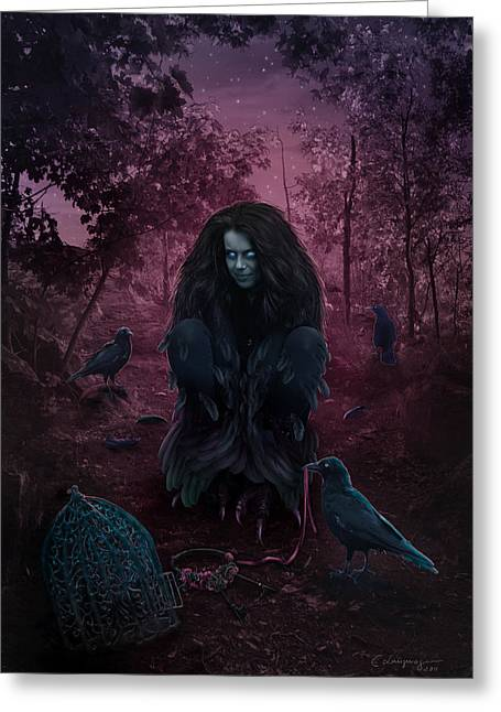 Canvas Crows Greeting Cards - Raven Spirit Greeting Card by Cassiopeia Art