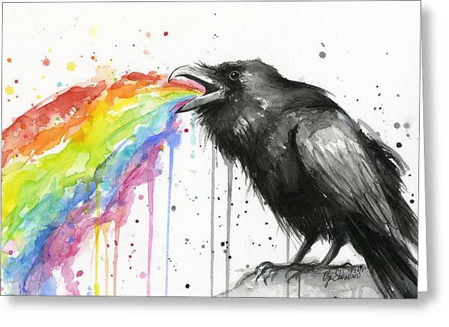 Ravens Greeting Cards - Raven Tastes the Rainbow Greeting Card by Olga Shvartsur