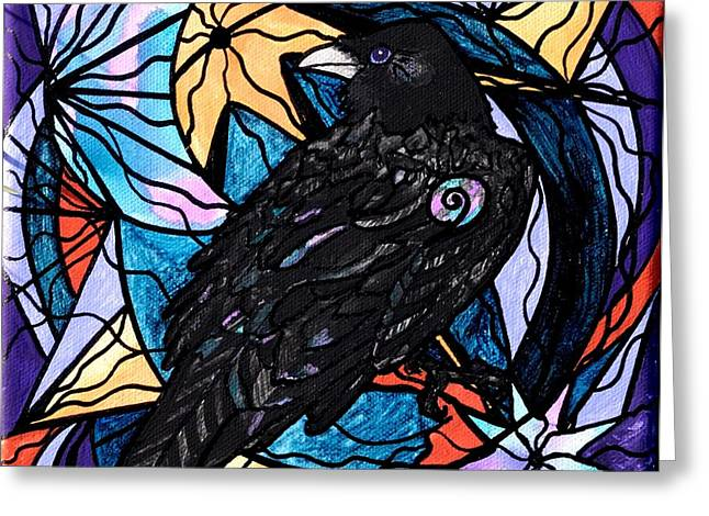 Geometric Image Greeting Cards - Raven Greeting Card by Teal Eye  Print Store