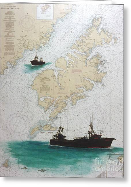 Kodiak Paintings Greeting Cards - RAVEN Trawl Fish Boat Kodiak Nautical Chart Art Greeting Card by Cathy Peek