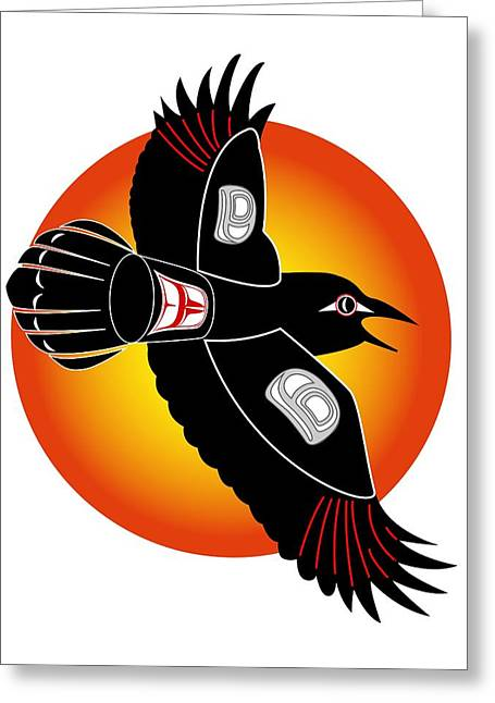 Sea Birds Greeting Cards - Raven with Sun Greeting Card by Fred Croydon