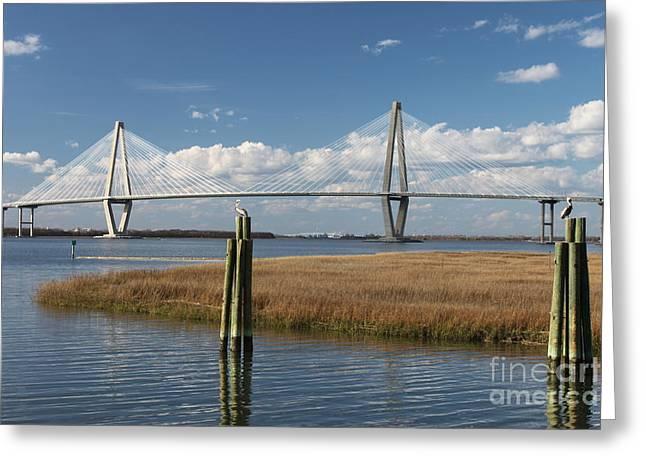 Mt. Pleasant Sc Greeting Cards - Ravenel Bridge Charleston Greeting Card by Cortney Price