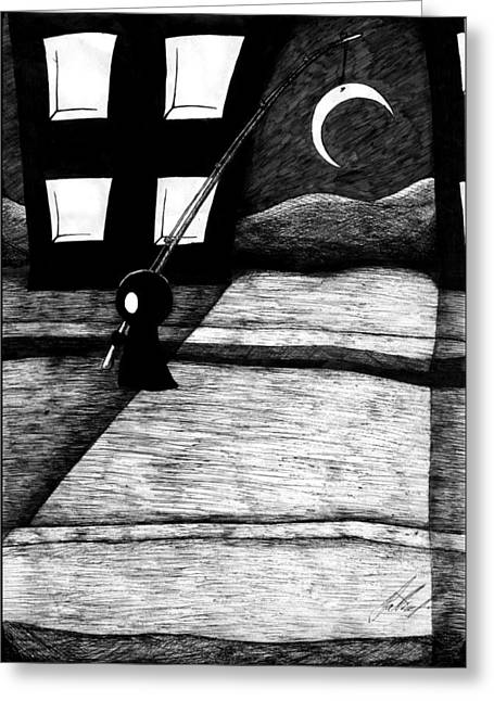 Fishing Rods Drawings Greeting Cards - Ravenfall 16th Street Greeting Card by Hindrek Hallik