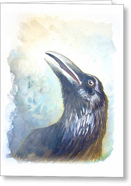 Catherine Mixed Media Greeting Cards - Ravens Call Greeting Card by Catherine Noel