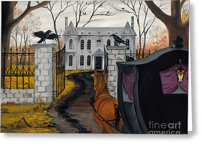Haze Paintings Greeting Cards - Ravens Estate Greeting Card by Margaryta Yermolayeva