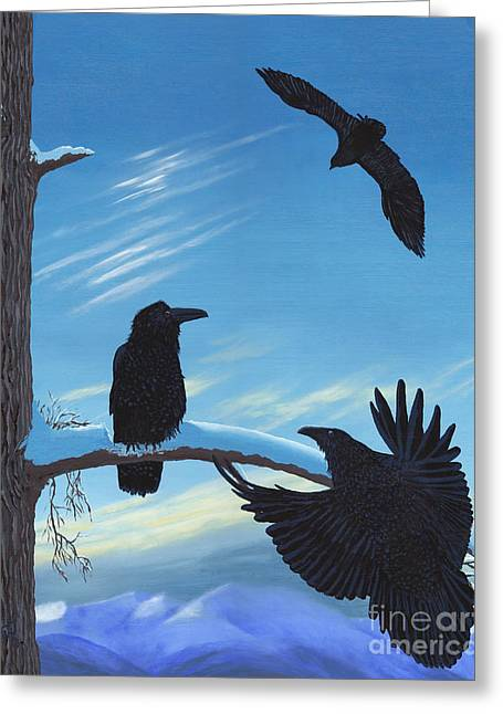 Cushion Greeting Cards - Ravens Gather Greeting Card by Stanza Widen