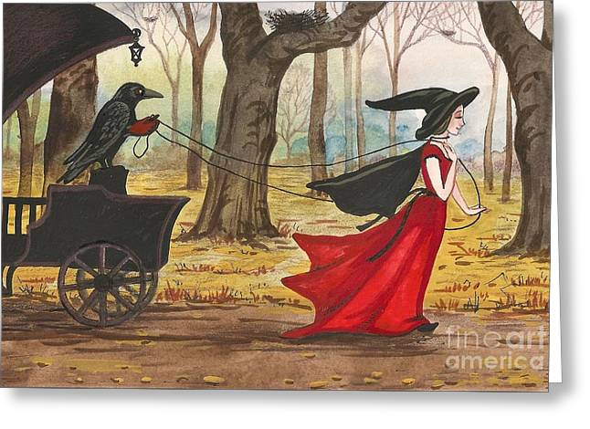 Margaryta Yermolayeva Greeting Cards - Ravens Halloween Carriage Greeting Card by Margaryta Yermolayeva