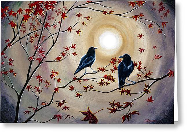 Two Crows Greeting Cards - Ravens in Autumn Greeting Card by Laura Iverson