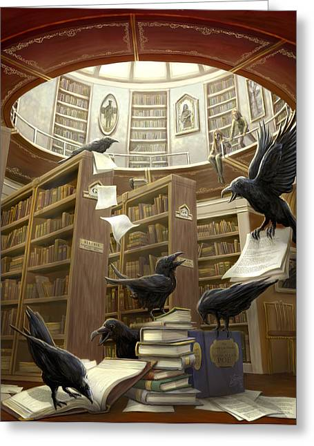 Raven Greeting Cards - Ravens in the Library Greeting Card by Rob Carlos