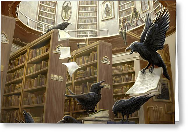 Ravens in the Library Greeting Card by Rob Carlos