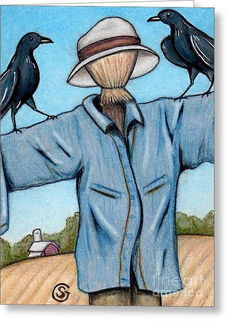 Raven Drawings Greeting Cards - Ravens -- Like They Think This Will Work... lol Greeting Card by Sherry Goeben