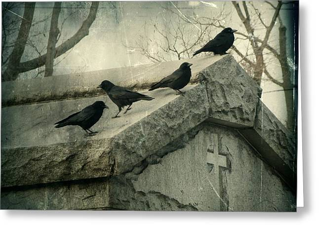 Corvus Greeting Cards - Ravens On A Gray Day Greeting Card by Gothicolors Donna Snyder
