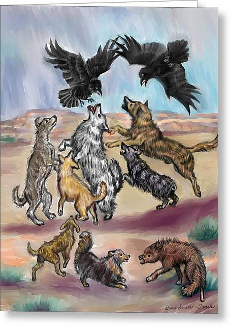 Raven Pastels Greeting Cards - Ravens Teasing Dogs II Greeting Card by Dawn Senior-Trask