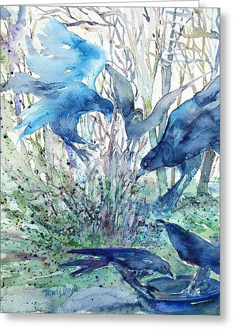 Best Sellers -  - Mystic Setting Greeting Cards - Ravens Wood Greeting Card by Trudi Doyle