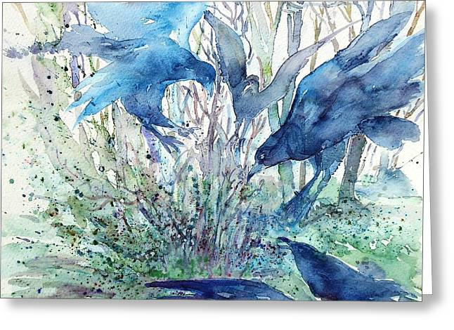 Mystic Setting Greeting Cards - Ravens Wood Greeting Card by Trudi Doyle