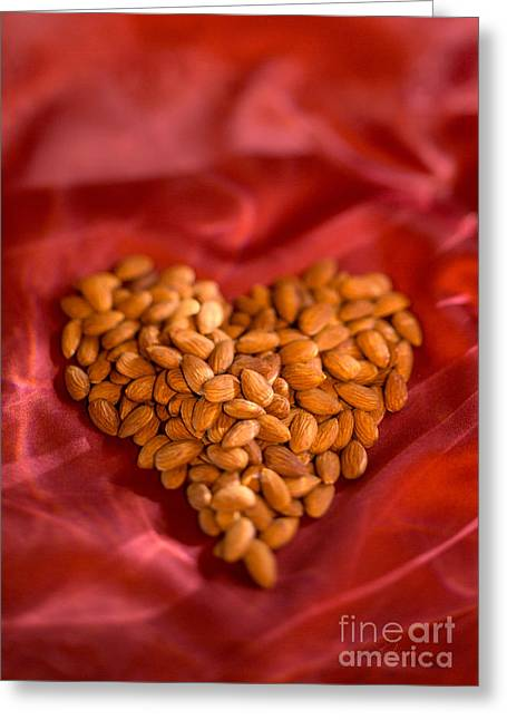 Aphrodisiac Greeting Cards - Raw Almond Heart Greeting Card by Iris Richardson