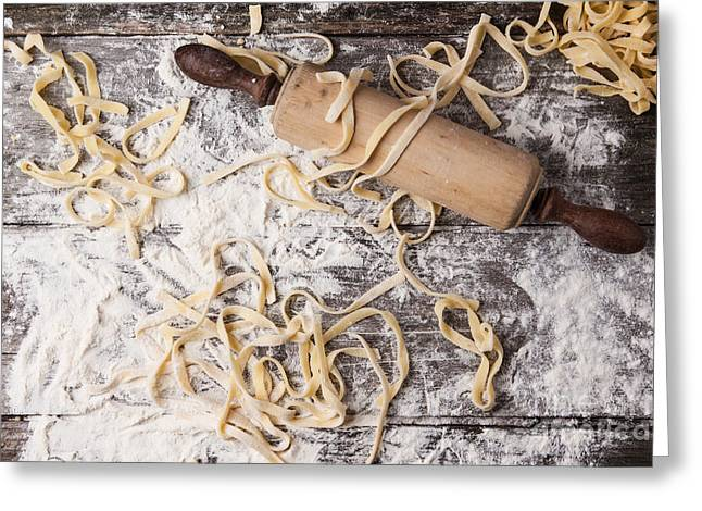 Noodles Pyrography Greeting Cards - Raw homemade pasta with rolling pin Greeting Card by Natasha Breen
