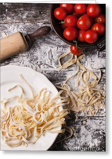 Noodles Pyrography Greeting Cards - Raw homemade pasta with tomatoes Greeting Card by Natasha Breen