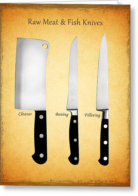 Cutlery Greeting Cards - Raw Meat and Fish Knives Greeting Card by Mark Rogan
