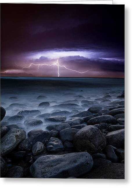 Lightning Landscapes Greeting Cards - Raw power Greeting Card by Jorge Maia